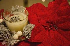 Vita stearinljus och julblommor royaltyfri bild