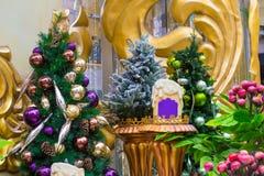 Vita stearinljus och julblommor Royaltyfri Foto