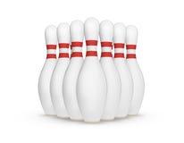 vita stift för bowling 3d Arkivbild