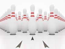vita stift för bowling 3d Arkivbilder