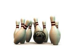vita stift för bowling 3d Royaltyfria Foton