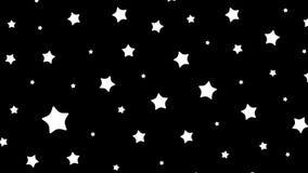 Vita stjärnor på svart tillbaka stock video