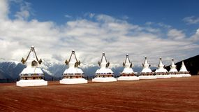 vita stupas Arkivbilder