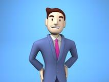 Vita su dell'uomo d'affari sorridente On Blue Background illustrazione di stock