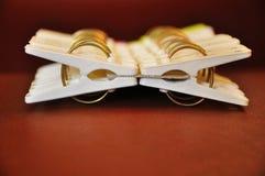 Vita suddighetsklädnypor royaltyfri fotografi