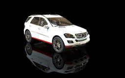 Vita SUV på svart bakgrund Arkivbilder