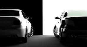 vita svarta bilar stock illustrationer