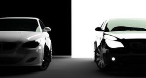 vita svarta bilar Royaltyfria Bilder