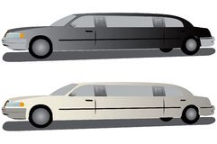 vita svarta limousines royaltyfri illustrationer
