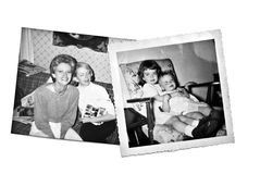 vita svarta retro systrar Royaltyfri Bild
