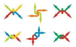 vita symboler för pilbakgrundsfärg som ställs in Royaltyfria Bilder