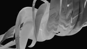 Vita tentakel f?r abstrakt bl?ckfisk som flyttar sig p? svart bakgrund, monokrom djur Skinande abstrakta r?r som untwisting royaltyfri illustrationer