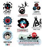 Vita tradizionale della gente nordica Logo dei cervi Logo nordico Logo del nord lontano Fotografia Stock Libera da Diritti