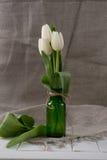 Vita tulpan i minimalistic Hemmiljögarnering Royaltyfri Bild