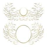 Vita två och guld- abstrakta modeller som förlägger logoen royaltyfri illustrationer