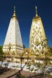 Vita två och guld- pagod Royaltyfri Foto