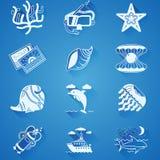 Vita undervattens- symboler Royaltyfria Foton