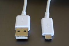 Vita USB och mikroUSB proppar royaltyfri bild