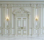 Vita väggpaneler i klassisk stil med att förgylla framförande 3d Arkivfoton