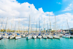 Vita yachter på havsport med den blåa molniga skyen Arkivbild