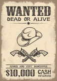 Vitage wild west wanted poster Royalty Free Stock Photography