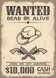 Vitage wilde west gewilde affiche stock illustratie