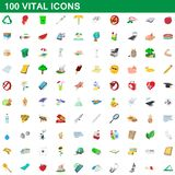 100 vital icons set, cartoon style. 100 vital icons set in cartoon style for any design illustration royalty free illustration