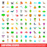 100 vital icons set, cartoon style. 100 vital icons set in cartoon style for any design vector illustration Royalty Free Stock Image