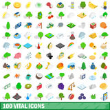 100 vital icons set, isometric 3d style Royalty Free Stock Photography
