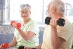 Vital senior couple in the gym. Vital senior couple exercising in the gym Stock Images