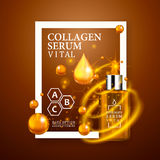 Vital serum golden dropper bottle on light brown background. Realistic bottle view with magic vital drops and glitters Royalty Free Stock Photos