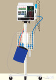 Vital Sign Monitor. A Hospital Vital Sign Monitor on Trolley with BP Cuff and Thermometer Stock Image