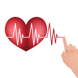 Vital Signs in the Heart with Drag Hand to Line Royalty Free Stock Images
