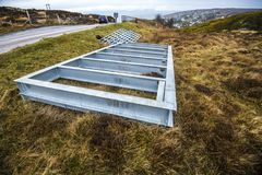 Equipment to form a new cattle grid on the hills above Gairloch on the west coast of the Highlands of Scotland stock image