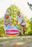 Vitale senior citizens playing with a big bag Stock Image