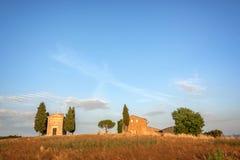Vitaleta Chapel, Tuscan landscape near San Quirico d`Orcia, Siena, Tuscany Italy. Vitaleta Chapel, Tuscan landscape near San Quirico d`Orcia, Siena, Tuscany Royalty Free Stock Photos
