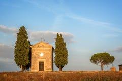 Vitaleta Chapel, Tuscan landscape near San Quirico d`Orcia, Siena, Tuscany Italy. Vitaleta Chapel, Tuscan landscape near San Quirico d`Orcia, Siena, Tuscany Royalty Free Stock Photography