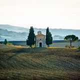 Vitaleta chapel. Early in the morning in autumn stock photos