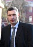 Vitali Klitschko talking to journalist after vote in Kiev, Ukraine Royalty Free Stock Photos