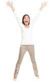 Vitaliteit - jonge gelukkige vrouw op wit Royalty-vrije Stock Afbeeldingen