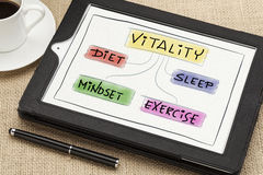 Vitality concept on digital tablet. Diet, sleep, exercise and mindset - vitality or wellness concept on a digital tablet Royalty Free Stock Photo
