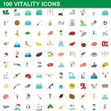100 vitality icons set, cartoon style. 100 vitality icons set in cartoon style for any design illustration royalty free illustration