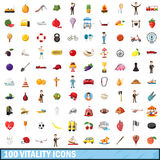 100 vitality icons set, cartoon style. 100 vitality icons set in cartoon style for any design vector illustration Stock Photography