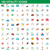 100 vitality icons set, cartoon style. 100 vitality icons set in cartoon style for any design vector illustration Stock Photo