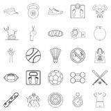 Vitality icons set, outline style. Vitality icons set. Outline set of 25 vitality vector icons for web isolated on white background Stock Photos