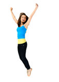 Vitality jump of young girl Stock Images