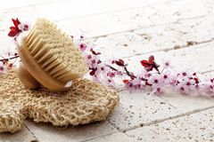 Vitality massage for beauty and purity at the spa. Seeking for purity for natural bodycare with spring flower background Stock Photos