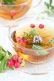 Vitality tea. With lingonberry and mint (vitality berry Royalty Free Stock Photos