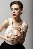 Vitality. Ultramodern Luxurious Supermodel in Fashion Sleeveless Dress. Ambition Royalty Free Stock Photos