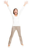 Vitality - young happy woman on white Royalty Free Stock Images